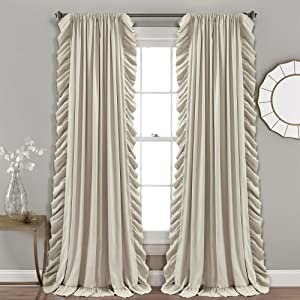 """Lush Decor Reyna Wheat Window Curtains Panel Set for Living, Dining Room, Bedroom (Pair), 84"""" x 54"""", 84"""" x 54"""""""