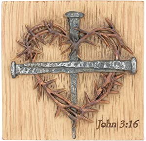Dicksons God So Loved John 3:16 Nail Cross and Thorn Heart 3 inch Table Plaque Sign