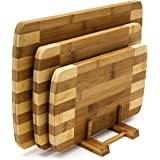 Relaxdays Bamboo Chopping Board Set of 3 with Stand, in Various Sizes, 3 Cutting Boards, Modern and Striped Design, Natural Brown