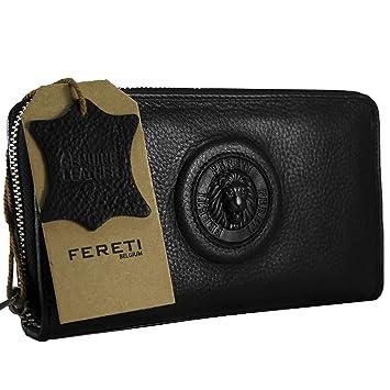 1a209ab2cf76ca FERETI ® echtes Leder schwarz Damen Geldbörse Damen Portemonnaie Damen  Geldbeutel - Lang Leder