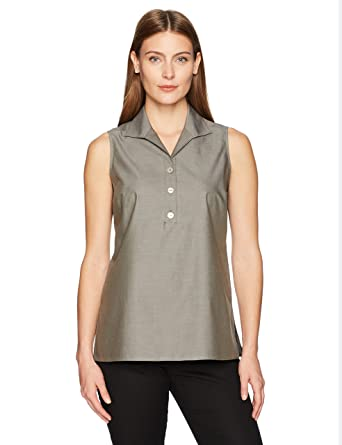 6e15f3c596c8bb Foxcroft Women's Dani Solid Non Iron Sleeveless Shirt at Amazon Women's  Clothing store: