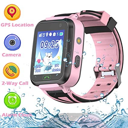 PTHTECHUS Kids GPS Waterproof Smart Watch Phone for Students, Boys Girls Smartwatch with WiFi GPS Tracker 2 Way Calls SOS Voice Chat Camera Alarm ...