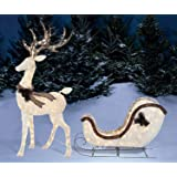 Light-Up Buck Deer & Sleigh, 2-Piece Set Christmas Yard Decoration