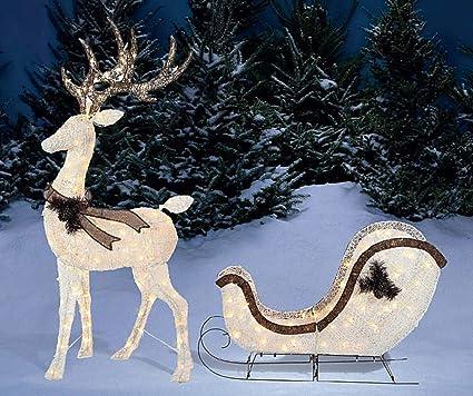 Amazon.com: Light-Up Buck Deer & Sleigh, 2-Piece Set Christmas Yard ...