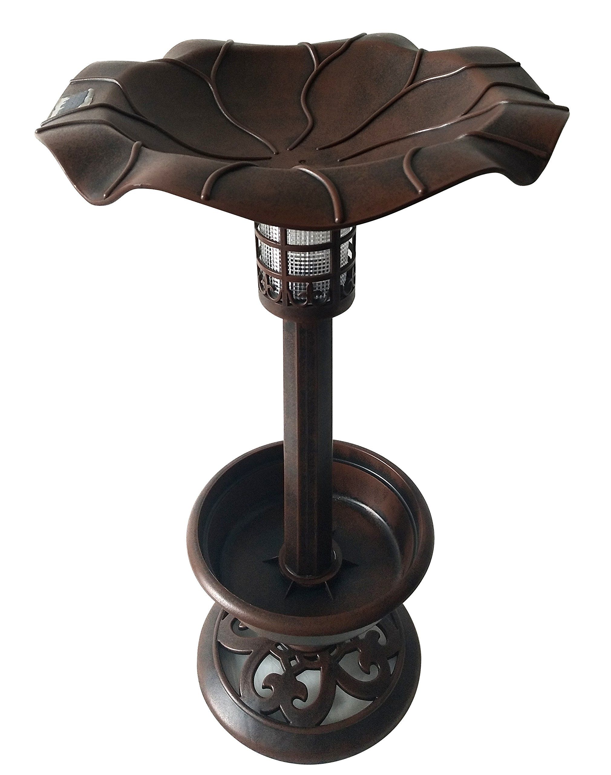 Backyard Expressions 914927 Bird Bath with Solar Light, Brown by Backyard Expressions