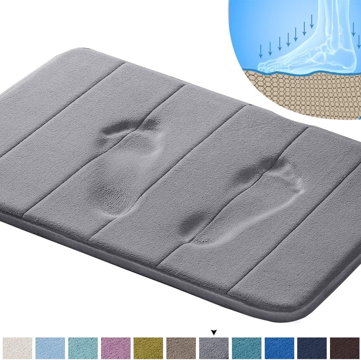 """Memory Foam Bath Mat Soft Memory Foam Non Slip Bath Mat Toilet Floor Rug Non Slip Rubber Backing Non Slip Absorbent Super Cozy Velvet Bathroom Rug Carpet (20"""" X 32"""", Grey Striped Pattern)"""