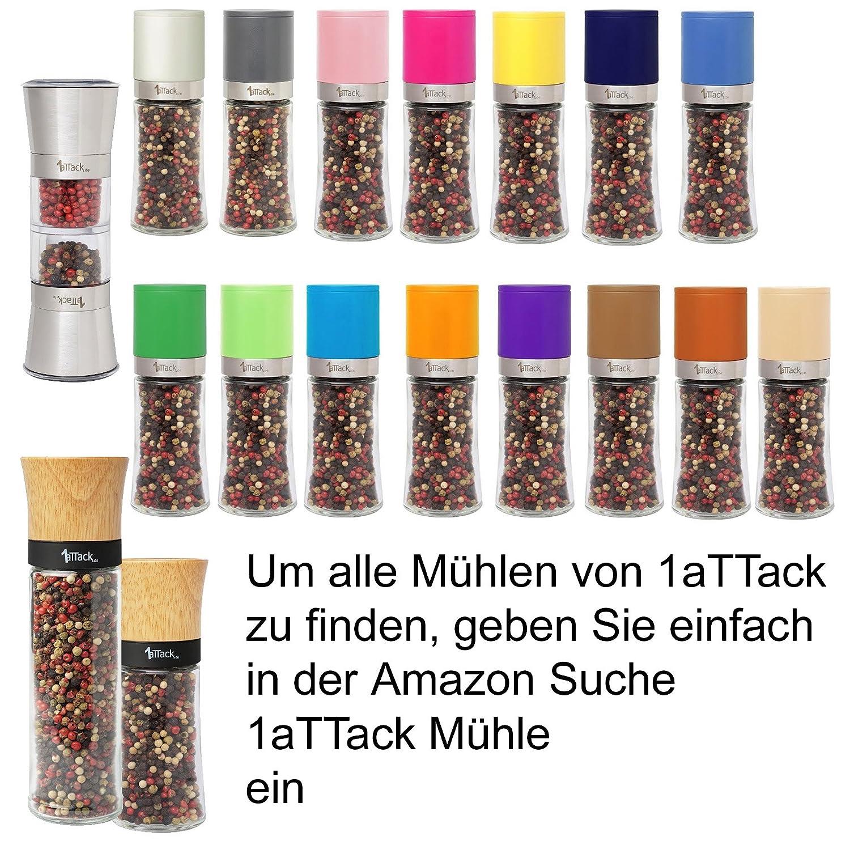 /Altezza 20.5/cm/ /230/ML/ Pepe e spezie con meccanismo in Ceramica in Confezione Regalo/ /Beige Bianco 1aTTack.de Macinapepe Macinino per Sale