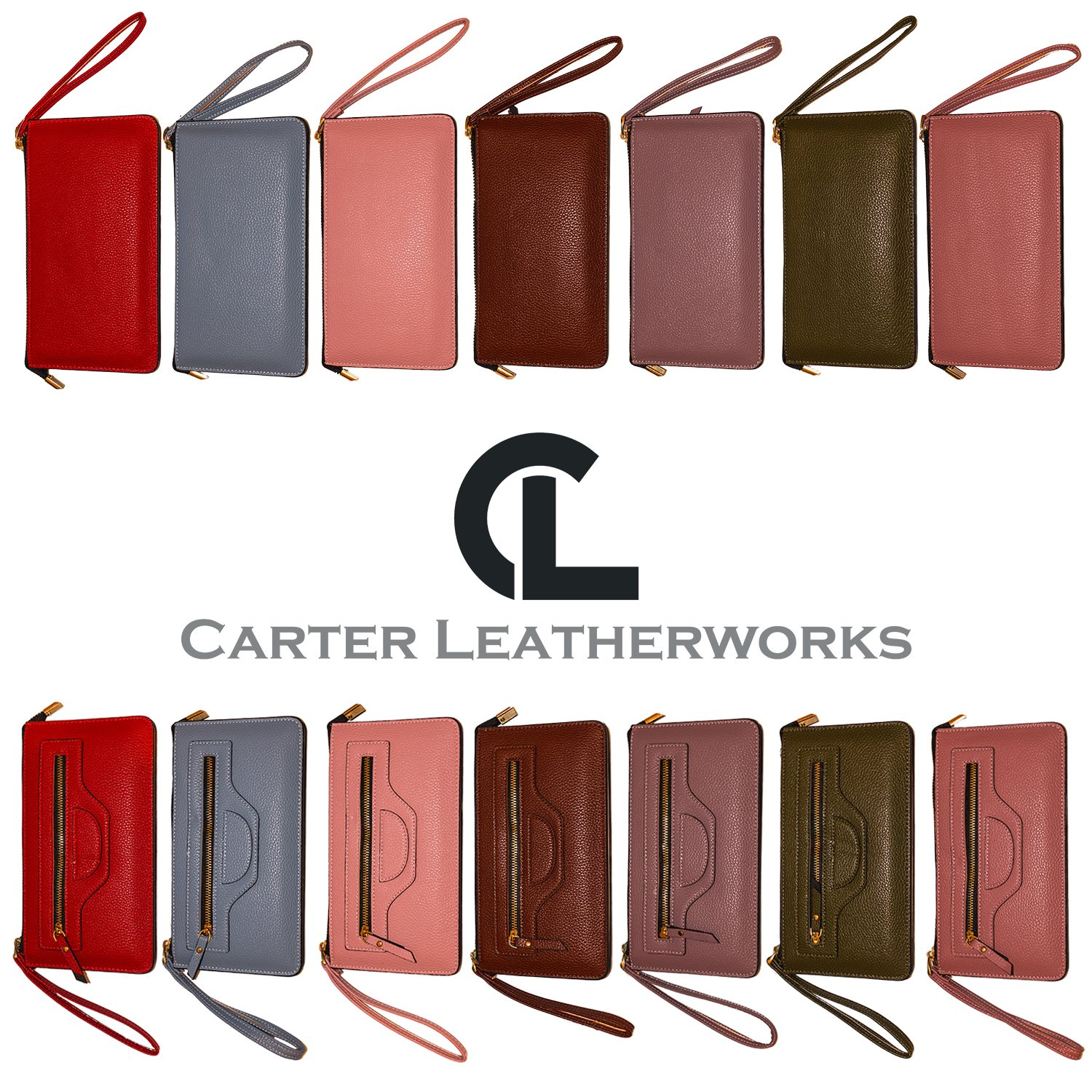 Carter Leatherworks Rodeo Womens PU Vegan Leather Wristlet Wallet Clutch Purse Fits Any Smartphone (Coffee) by Carter Leatherworks (Image #5)