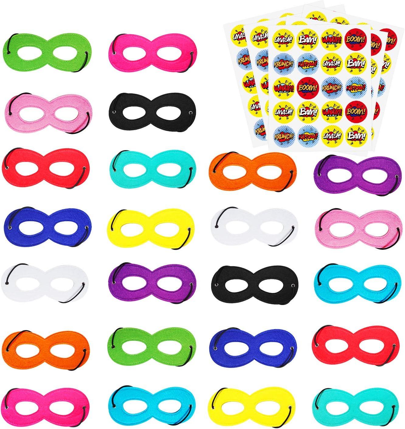 AIMIKE Superhero Masks, Cosplay Party Favors, Superhero Eye Masks for Kids with 100 Round Superhero Stickers, 24Pcs Multicolor Masks