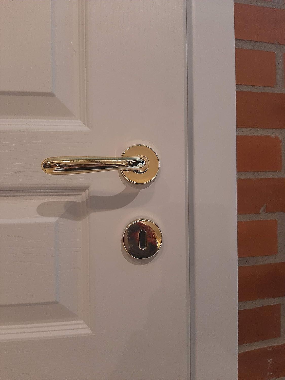 per porte Uso Interno Coppia di Maniglie Alessia a Goccia per Porta porte interne abs Design Moderno e Pulito Finitura oro