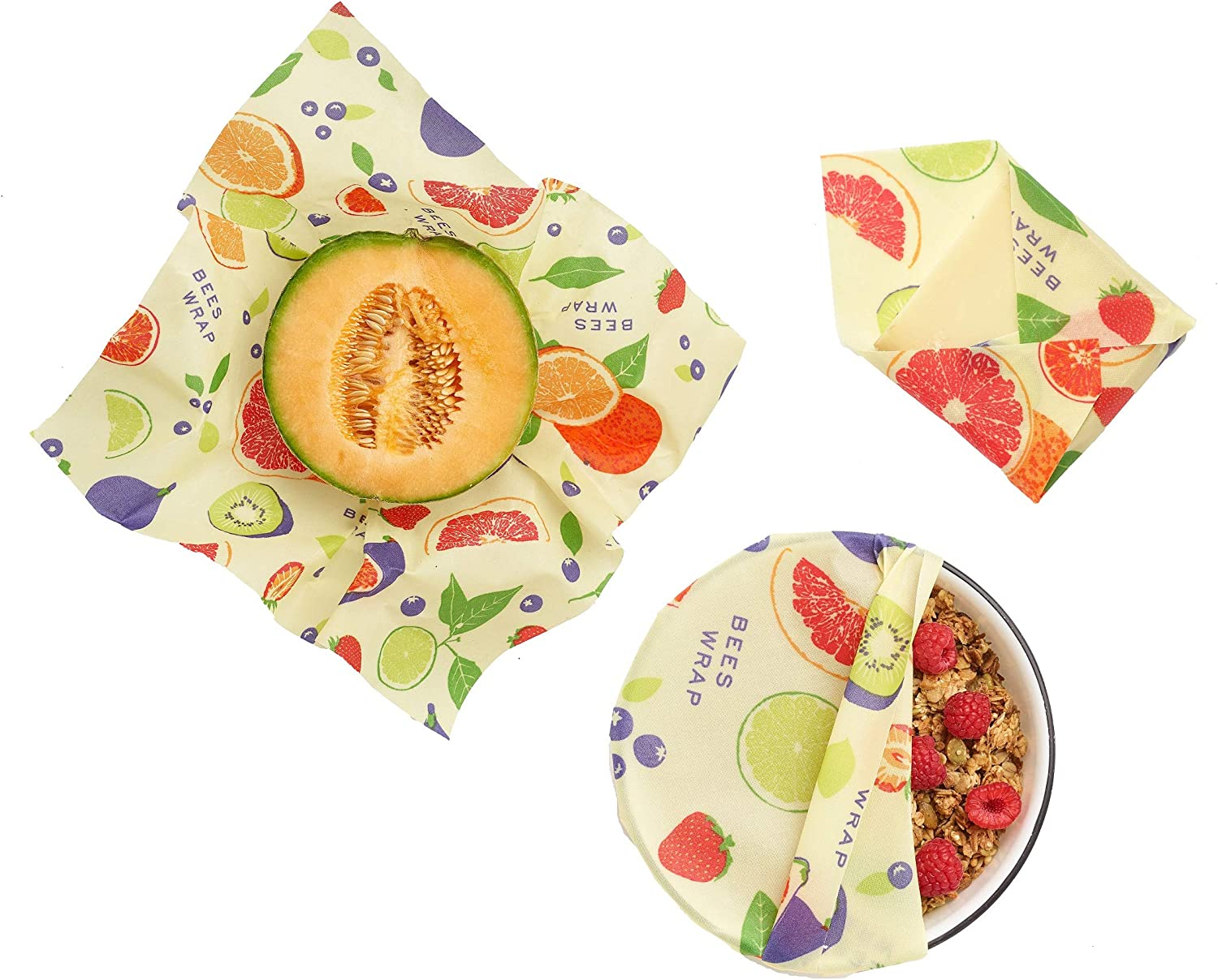 Plastic Free Bee's Wrap Assorted 3 Pack, Made in USA, Eco Friendly Reusable Beeswax Food Wraps, Sustainable, Zero Waste Alternative for Food Storage - 1 Small, 1 Medium, 1 Large (Fresh Fruit Print)