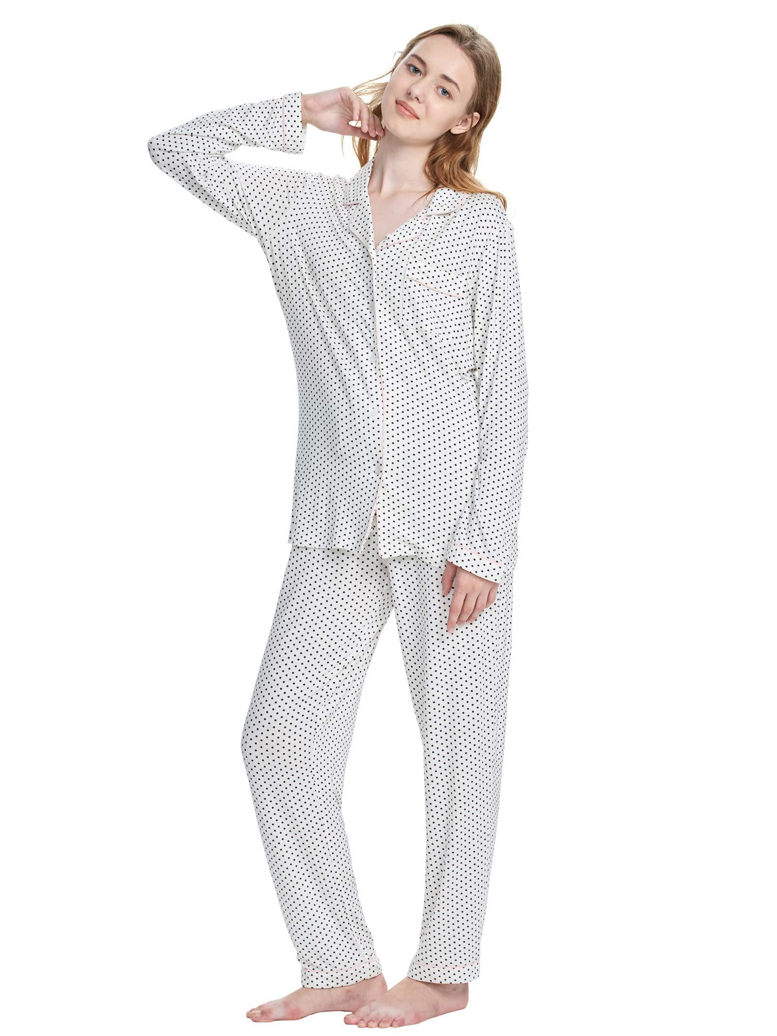 SIORO Womens Pajamas Long Sleeve Summer Pajama Set Soft Cotton Sleepwear 2 Piece Lightweight Loungewear Soft Sleepshirt with Pants White M