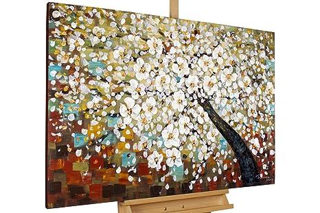 KunstLoft/® dipinto in acrilico Foglie dautunno colorate in 150x50cm Un bosco e oro colorato da alberi astratti Quadro da parete dipinto in acrilico arte modernaondo beige Tele originali manufatte XXL