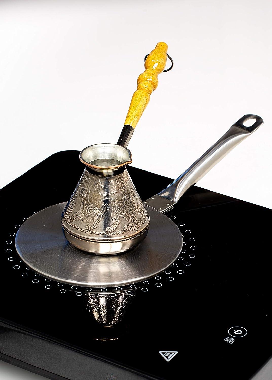 ostt/ürkische griechische Kaffee-Getr/änke. Kupfer-Kaffeekanne Cezve Ibrik Briki Turka Schneeleopard Volumen 200 ml mit Holzgriff f/ür Gas- oder Elektroherde f/ür orientalische 7 oz