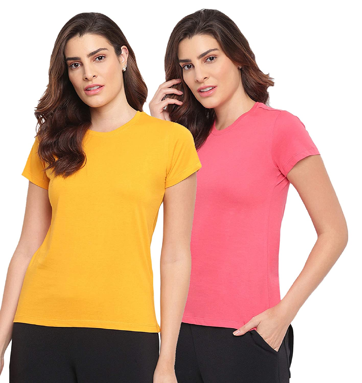 Two Dots Women's Regular fit T-Shirt – Pack of 2