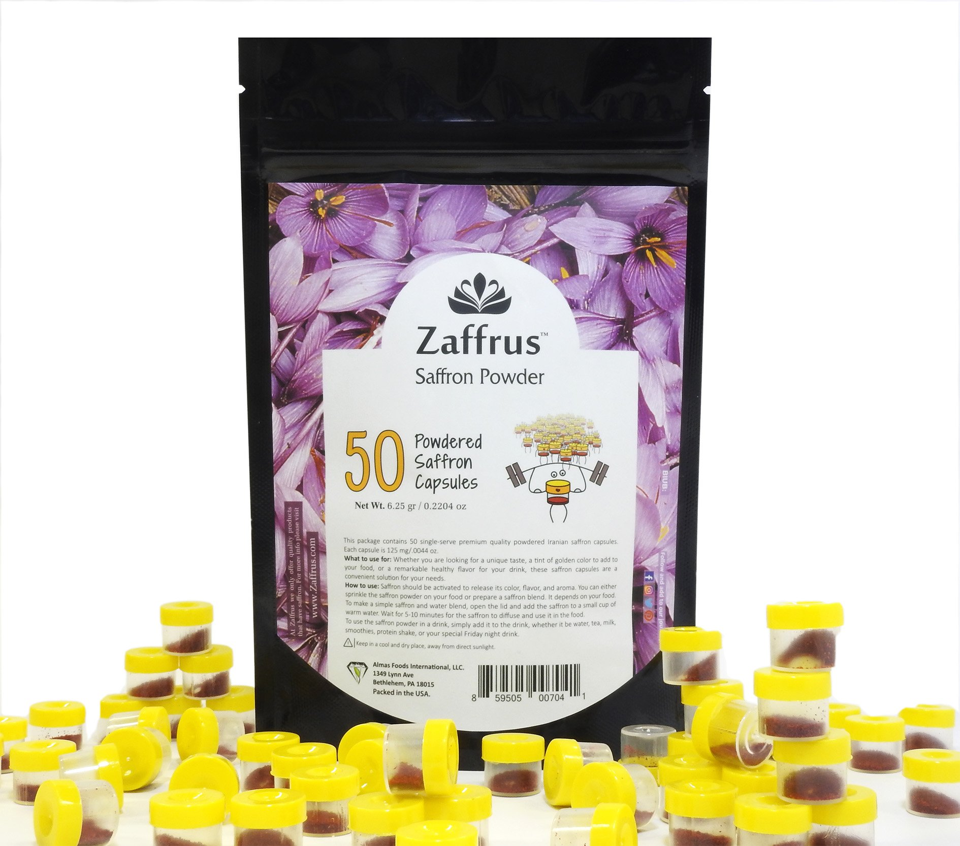 Zaffrus - Premium Saffron Powder for Cooking/Gym-Goers/Specialty Drinks Fans - Pack of 50 (6.25 gr/.2204 oz)
