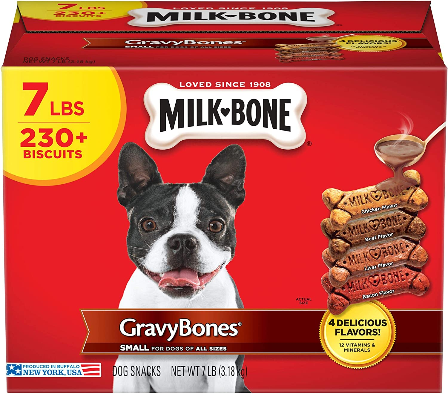 Milk-Bone Gravy Bones Dog Biscuits, 4 Meaty Flavors with 12 Vitamins & Minerals