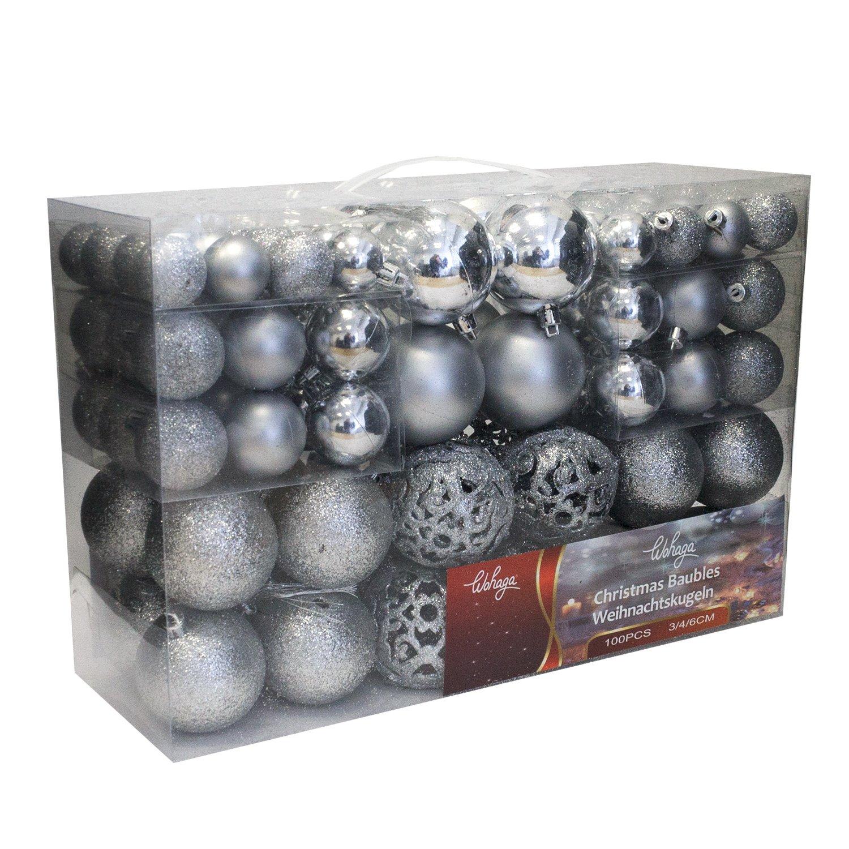 Wohaga 1Set di 100 palle di Natale Ø3/4/6cm plastica argento - ornamento per l'albero di Natale decorazione di Natale decorazione per l'abete