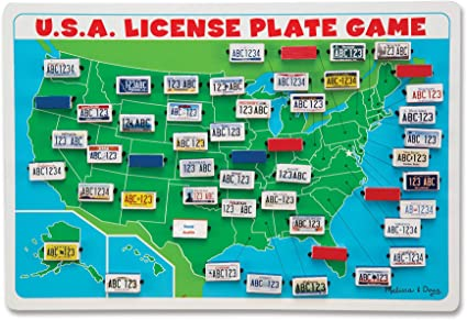 Melissa & Doug USA License Plate Game (Wooden \