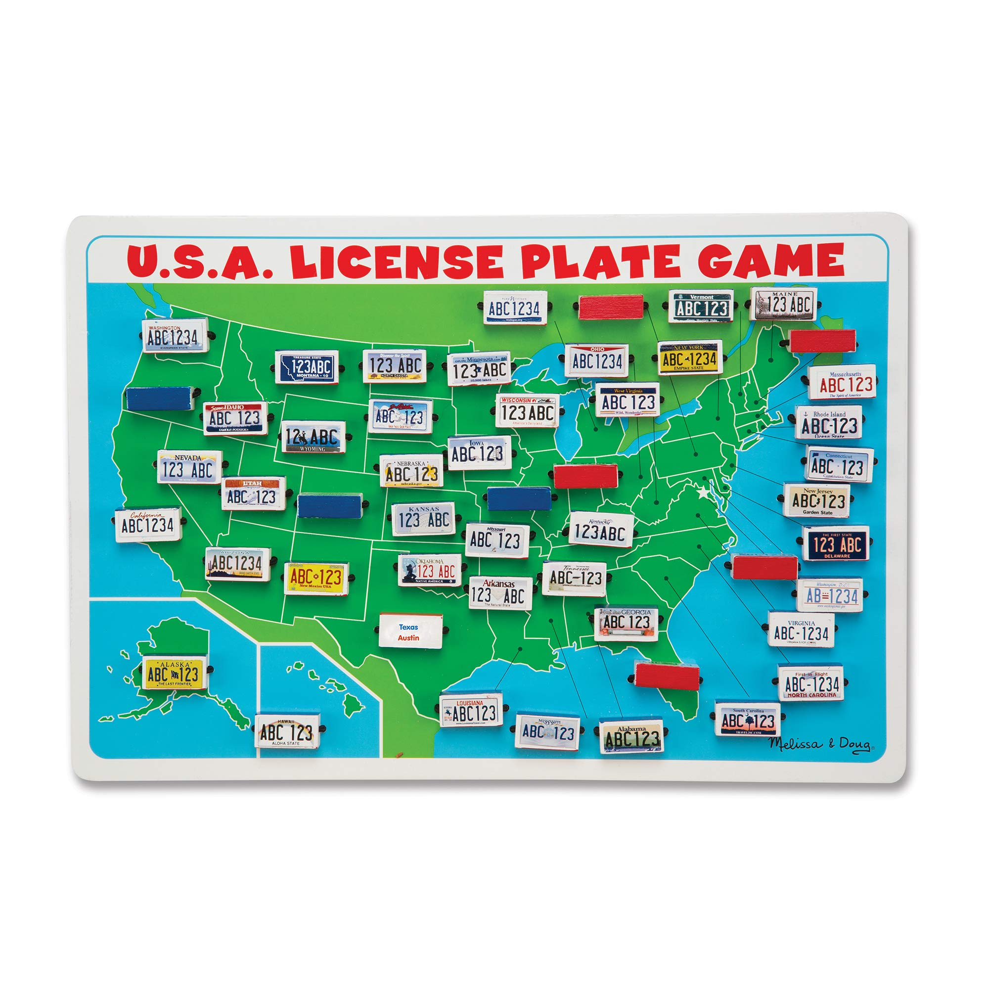 Melissa & Doug U.S.A. License Plate Game (Wooden ''Flip to Win'' Travel Game, Two Players, Great Gift for Girls and Boys - Best for 5, 6, and 7 Year Olds) by Melissa & Doug