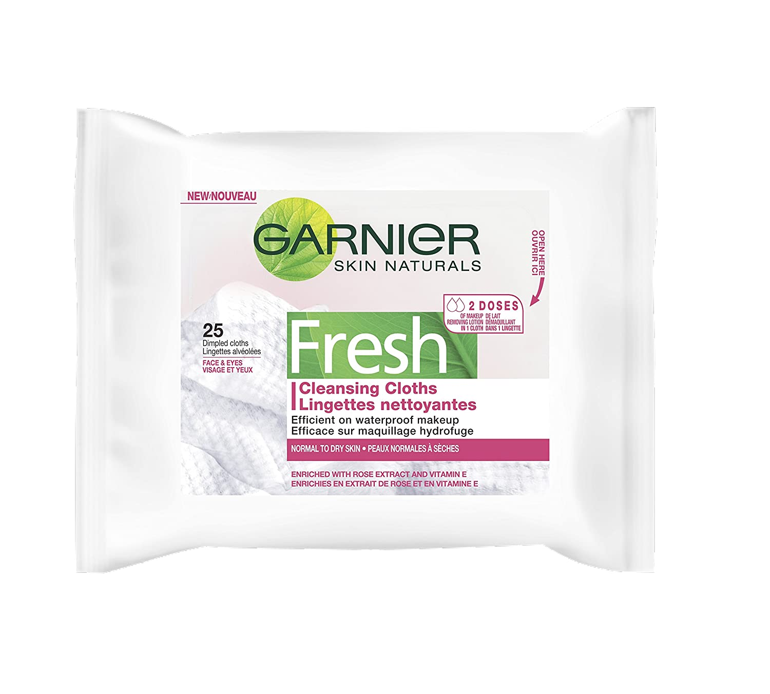 Garnier Fresh Dry Skin Cloths for Normal to Dry Skin. Waterproof Makeup Remover, with Vitamin E and Rose Extract, 25-Count