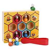 XREXS Toddler Bee Hive Preschool Wooden Toys,Bee Toy,Motor Skills Toys for Toddlers for Baby Early Educational Toddler Montessori Game Motor Skills Toy