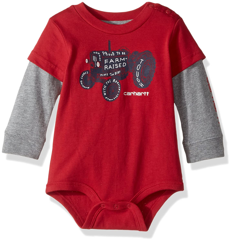 Amazon.com  Carhartt Baby Boys  Long Sleeve Bodysuit  Clothing 9942be50c9b