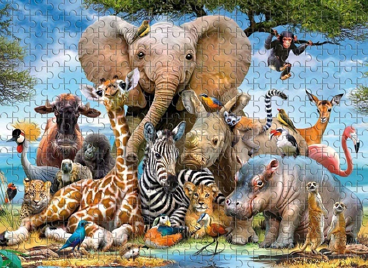 Educational Intellectual Decompressing Fun Game 1000 PCS Jigsaw Puzzles for Adults Kids Animal World