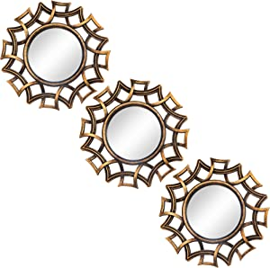 Small Round Decor Wall Mirrors Set of 3 Home Accessories for Bedroom, Living Room & Dinning Room (MS014)