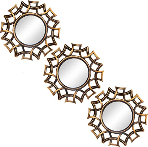 Small Round Decor Wall Mirrors Set of 3 Home Accessories for Bedroom, Living Room Dinning Room MS014
