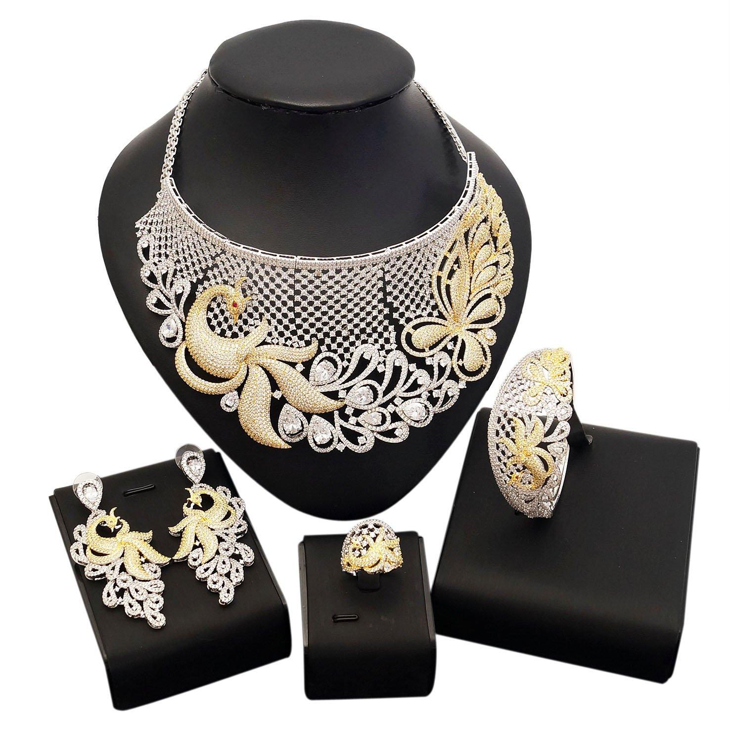 American Diamond Jewelry Set Earrings Costume Necklace Rings Saudi Ethiopian Women Bride Wedding Girls Nigerian Zircon Dubai 18k Gold Plated Filled Fashion African Indian Cubic Zirconia Bridal