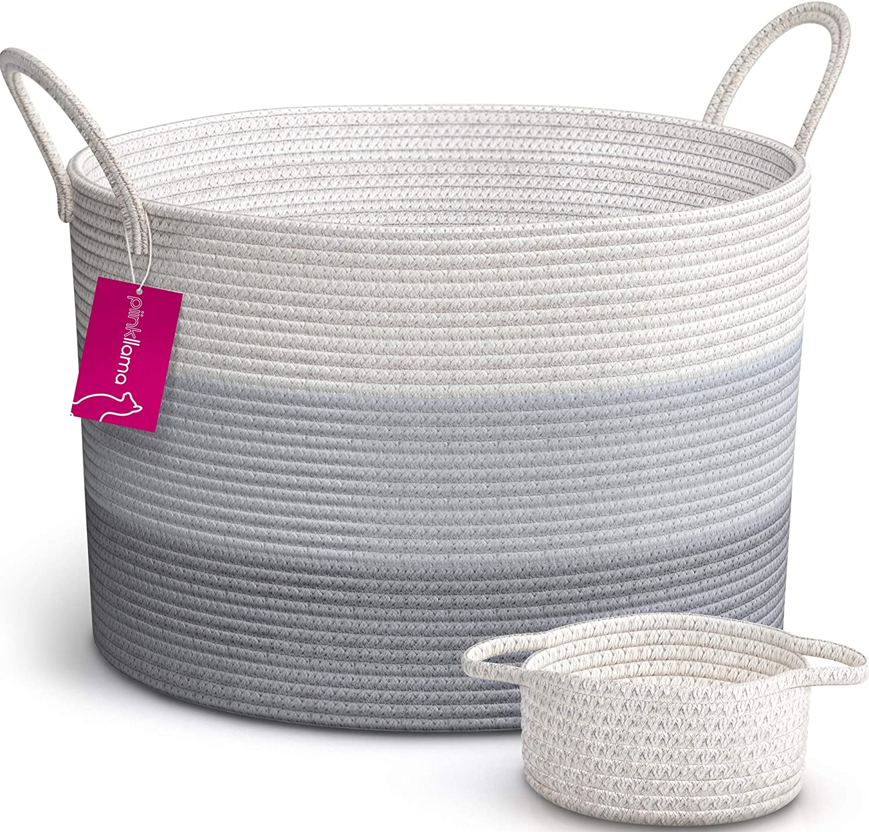 "PiinkLlama XXL Cotton Rope Basket + Bonus Basket, 20""x13.5"" Large Baskets with Handles Large Blanket Basket Living Room Extra Large Storage Baskets, Large Woven Basket Toy Basket, Woven Laundry Basket"