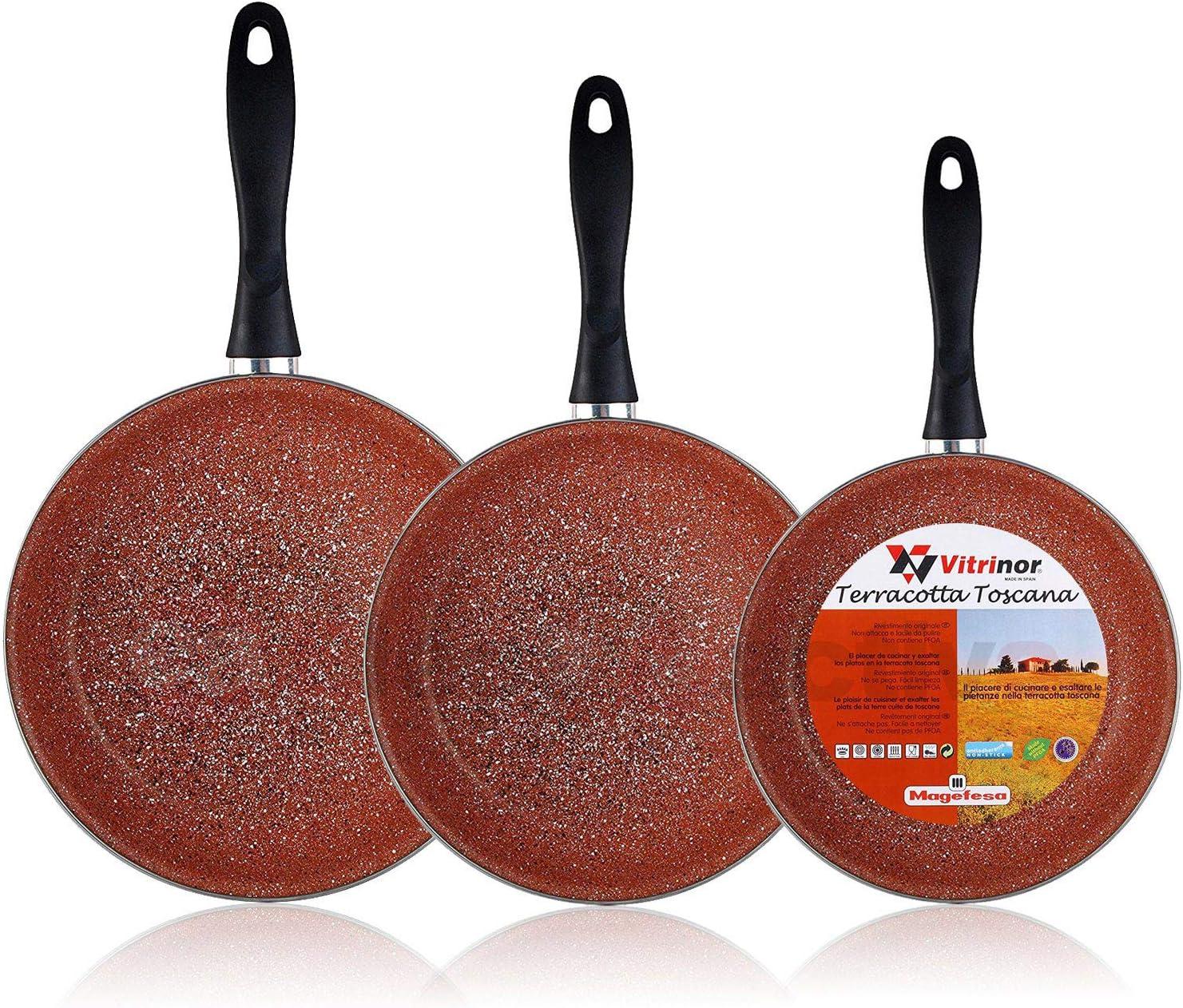 Magefesa Terracota - Set Juego 3 Sartenes 18-20-24 cm, inducción, Antiadherente Granito Libre de PFOA, Limpieza lavavajillas Apta para Todas Las cocinas, vitroceramica, Gas, Fabricadas en España