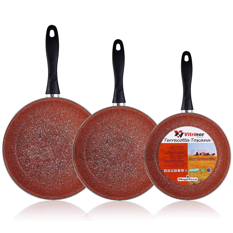 Magefesa Terracota - Set Juego 3 Sartenes 18-20-24 cm, inducción, antiadherente GRANITO libre de PFOA, limpieza lavavajillas apta para todas las ...