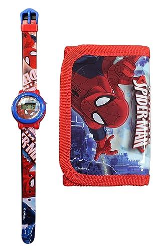 Marvel: reloj digital infantil, diseño de Spiderman, incluye cartera: Amazon.es: Relojes