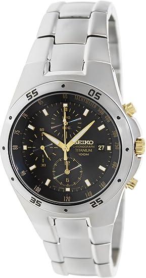 Seiko SND451P1 - Reloj cronógrafo de caballero de cuarzo con correa de titanio gris - sumergible a 100 metros: Babar: Amazon.es: Relojes