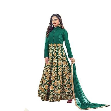 2f1b7f8f29 Amazon.com: Wedding Wear Collection Bridal Long Anarkali Suit Ceremony  Muslim Heavy Dress By Ethnic Emporium 709 (Green): Clothing