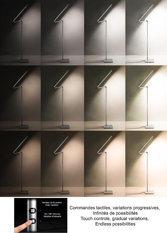 Variaci/ón t/áctil de brillo y color Polaris 0565 Combo Pro Todo aluminio L/ámpara de pie LED con control remoto 13.5W es igual a 135W HaloOptronics