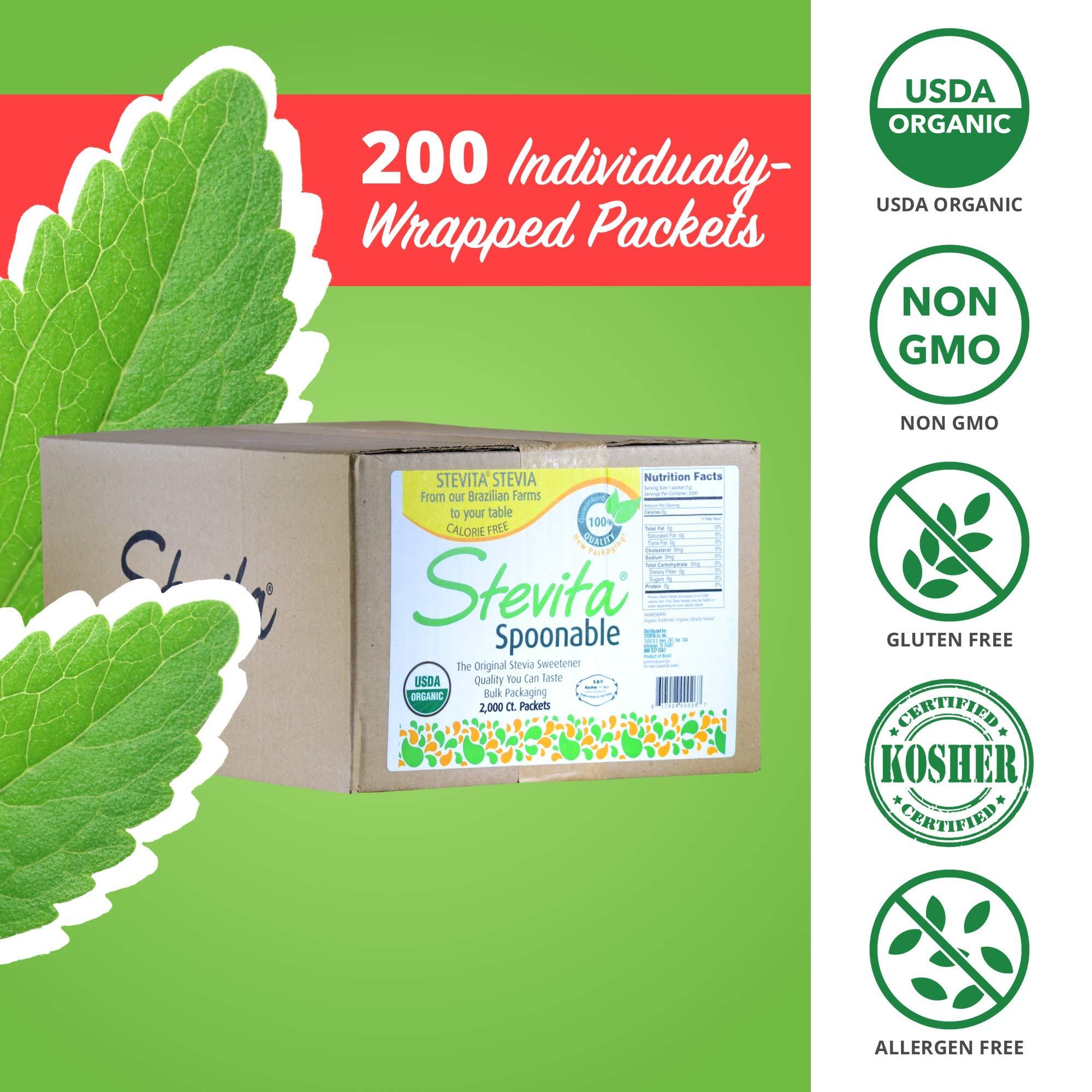 Stevita Organic Spoonable Stevia Packets - 2000 count - Stevia & Erythritol All Natural Sweetener, No Calories - USDA Organic, Non GMO, Vegan, Kosher, Paleo, Gluten-Free - 2000 Servings by STEVITA (Image #6)