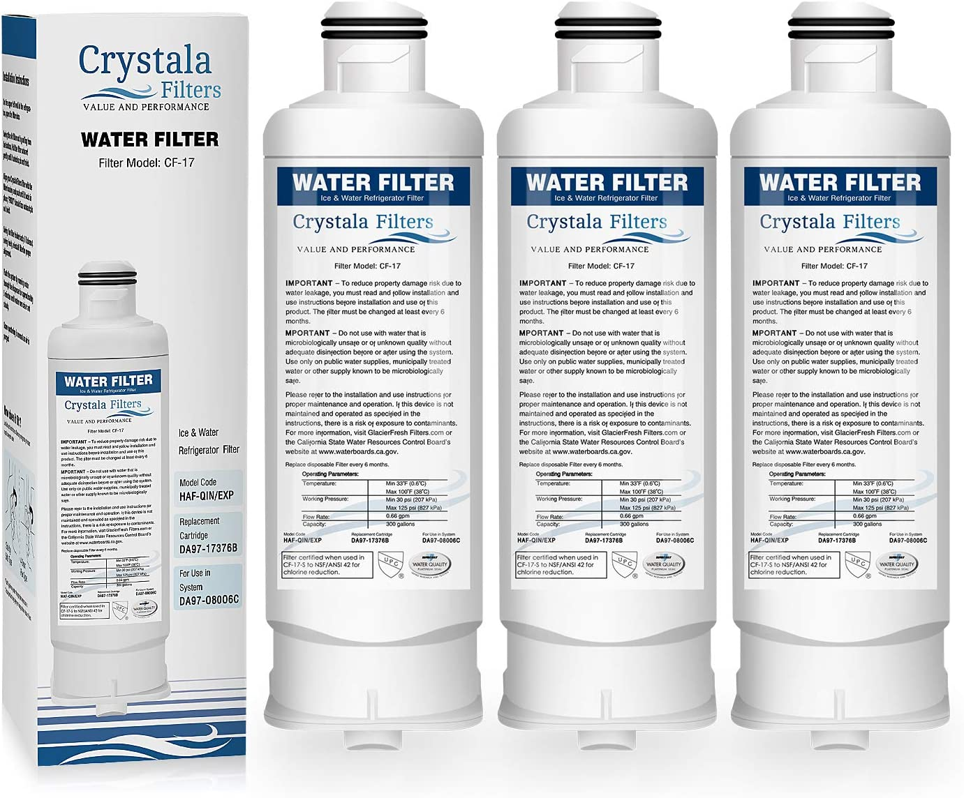Crystala Filters DA97-17376B Replacement For Samsung Genuine DA97-08006C Refrigerator Water Filter, (HAF-QIN/EXP) 3-Pack
