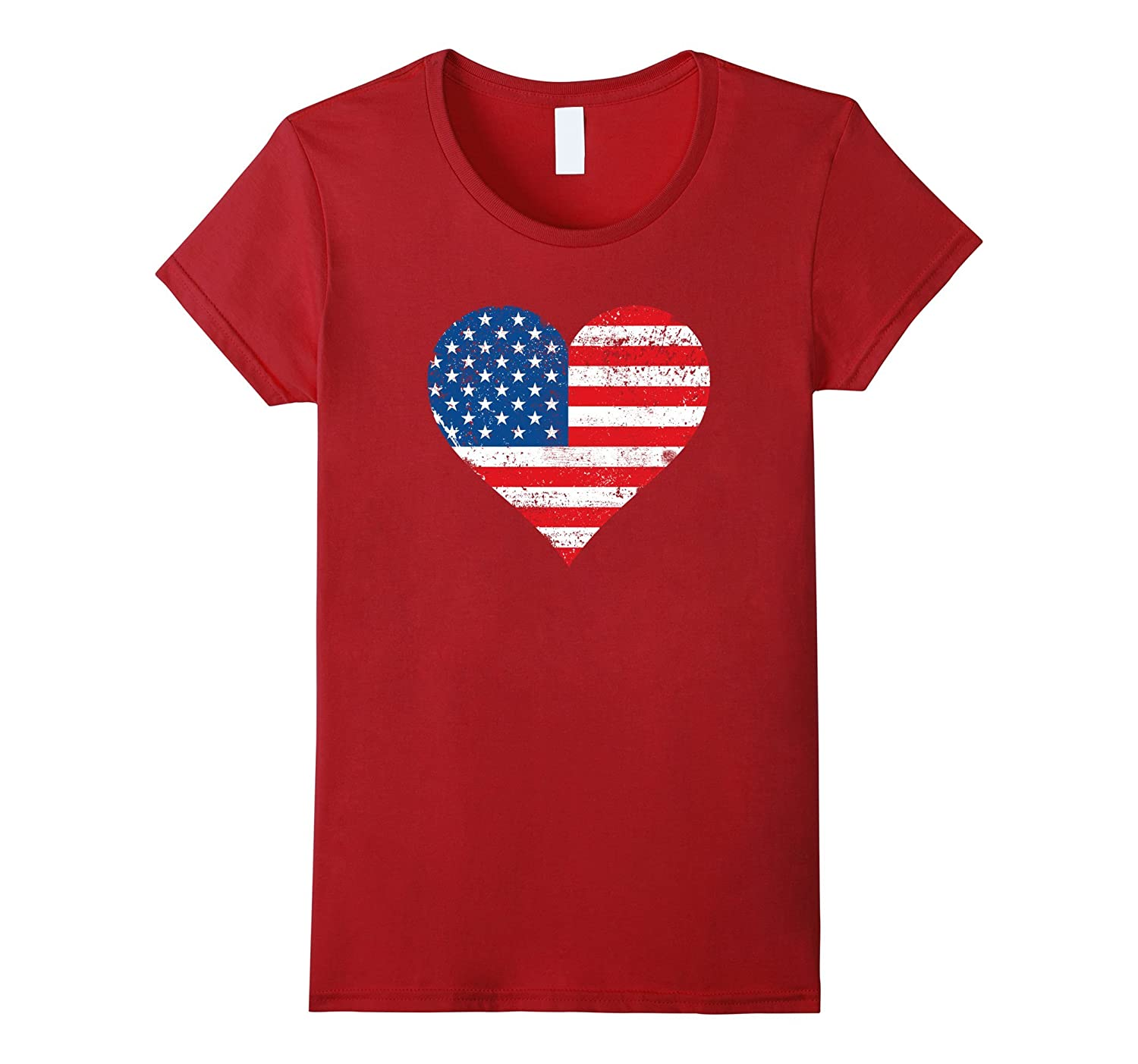 American Heart Flag T-Shirt USA Heart Flag T Shirt 4th July-FL