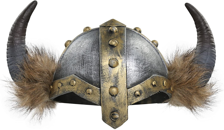 Fun Costumes Women's Horned Viking Faux Fur Trimmed Helmet