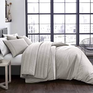 City Scene Pixel Duvet Cover Set, Full/Queen, Grey