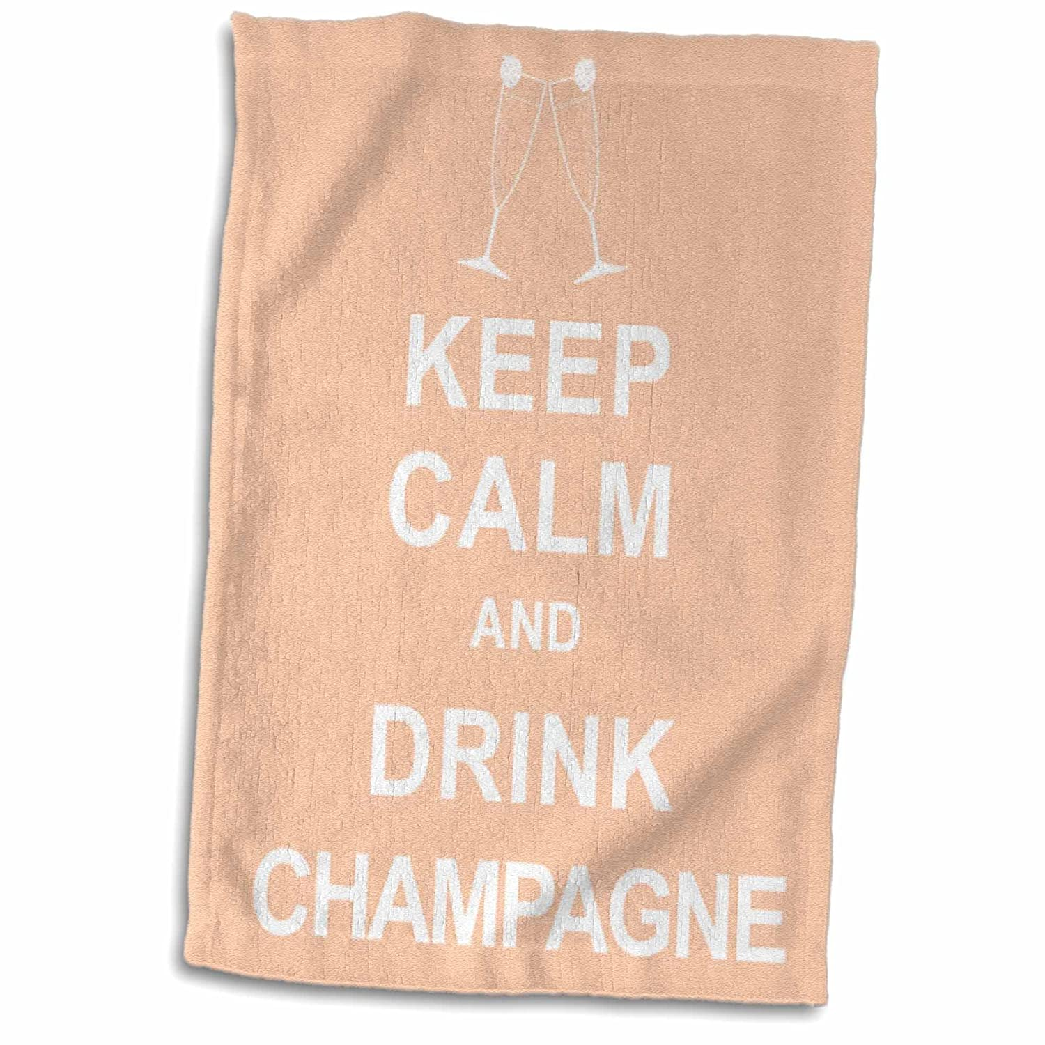 TWL/_193603/_1 Towel 15 x 22 3D Rose Keep Calm and Drink Champagne