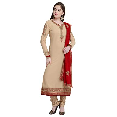 c4cd26d43c Style Amaze Women's Georgette Embroidered Semi Stitched Straight Suit(Beige  Color_SA_LT 2205) Free Size: Amazon.in: Clothing & Accessories