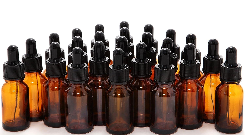 Vivaplex, 24, Amber, 10 ml 1 3 oz Glass Bottles, with Glass Eye Droppers