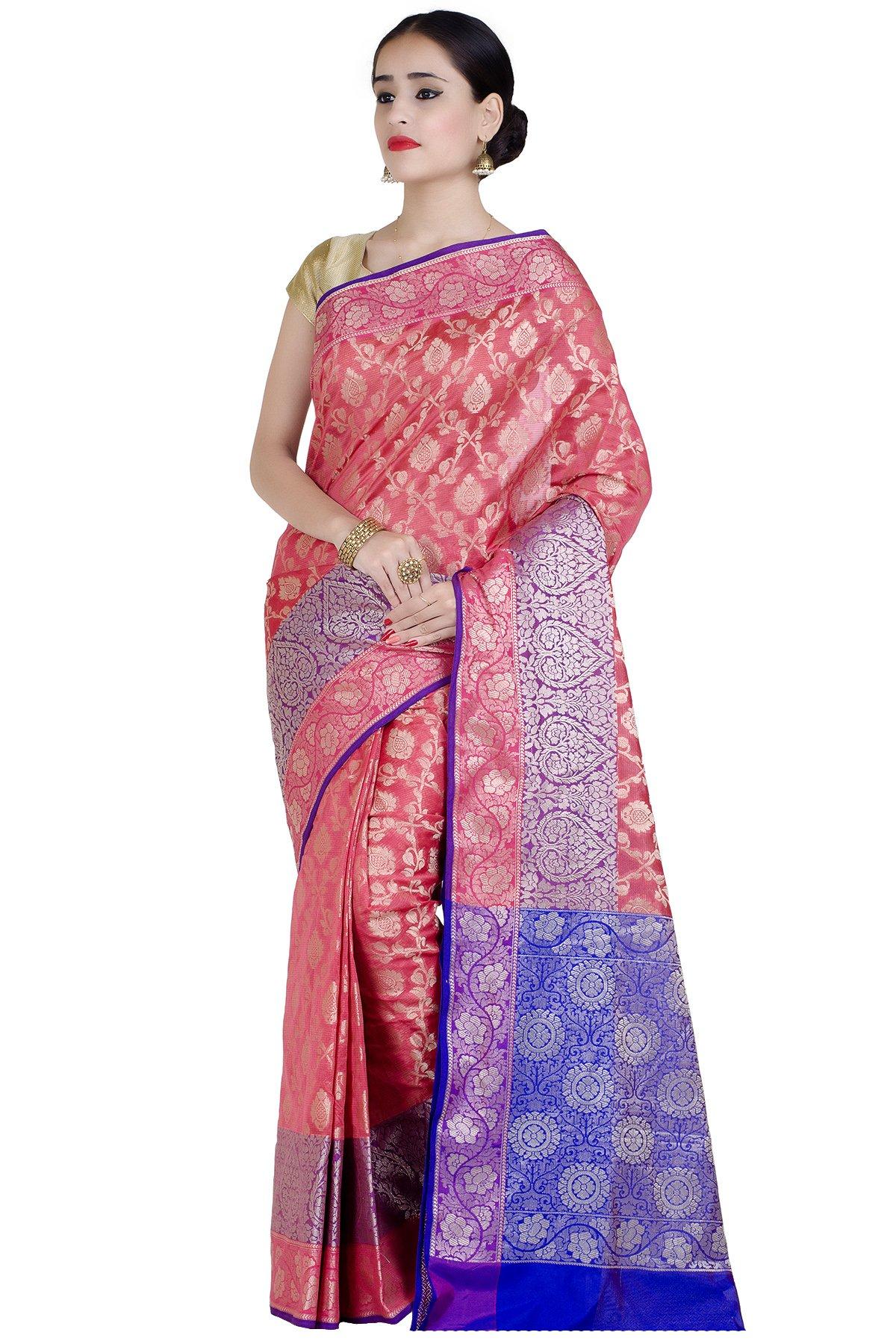 Chandrakala Women's Peach Cotton Silk Banarasi Saree(1291PEA)