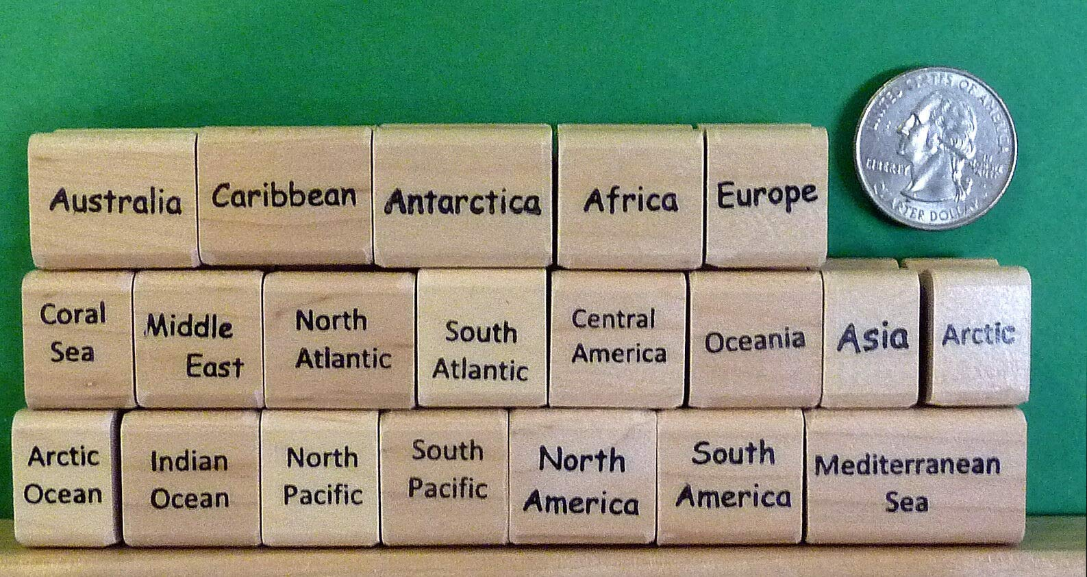 Continents Supplemental Rubber Stamp Set No. 1, Qty 20 - Rubber Stamp Wood Carving Blocks by Wooden Stamps