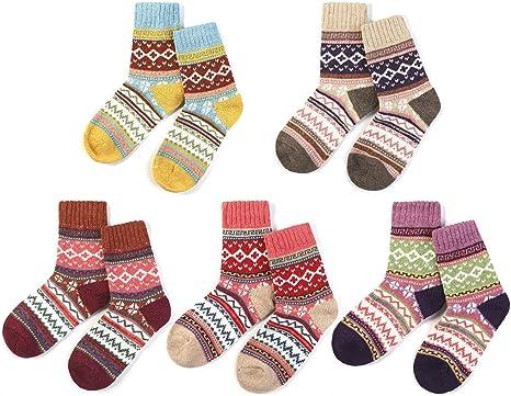 AYPOW Calcetines de algodón de Punto, 5 Pares para Mujer de Invierno cálido y Suave de Lana Gruesa de Punto Calcetines Calientes: Amazon.es: Deportes y aire libre