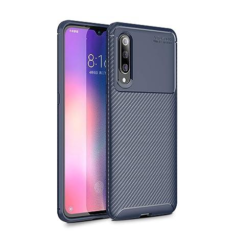 XIFAN Funda para Xiaomi Mi 9, Cubierta Fina de Silicona, Carcasa Suave y Duradera con Fibra de Carbono, Azul